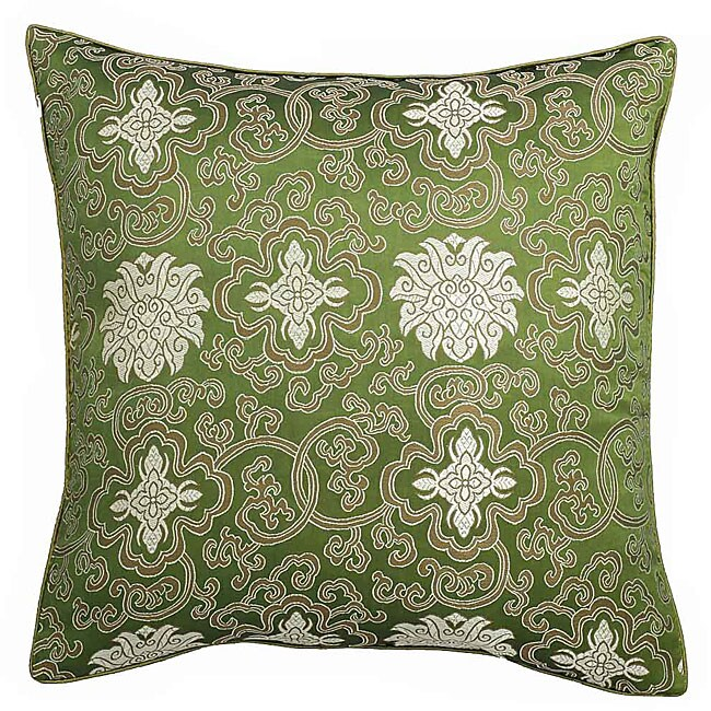 Handmade Chinese Lotus Green Cushion Cover