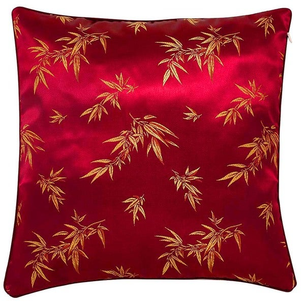 Chinese Bamboo Leaves Maroon Cushion Cover - Overstock Shopping - Great Deals on Throw Pillows