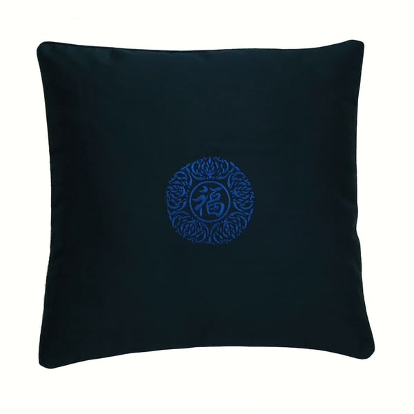 Chinese Good Fortune Blue Lotus Cushion Cover