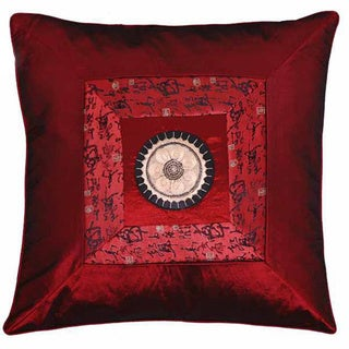 Chinese Calligraphy Silky Red Cushion Cover