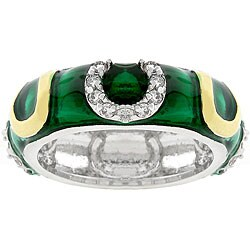 Kate Bissett Dark Green Enamel Horseshoe Ring