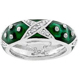 Kate Bissett Silvertone 'Boogie Down' Forest Green Enamel Ring
