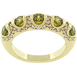 Kate Bissett 14k Gold Bonded 'Olive Fusion' CZ Fashion Ring
