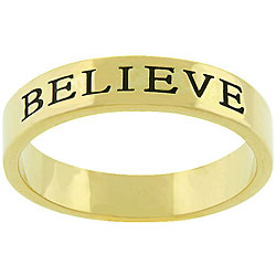 Kate Bissett Goldtone 'Believe' Fashion Ring
