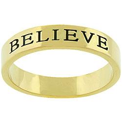 Kate Bissett Goldtone 'Believe' Fashion Ring