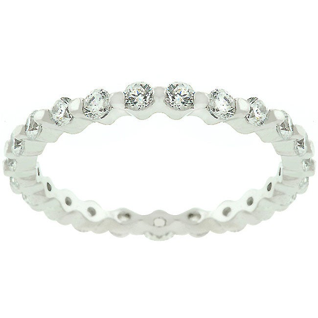 Kate Bissett Sterling Silver Stackable Cubic Zirconia Fashion Eternity Band