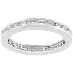 Kate Bissett Silvertone Bright White Stackable Clear CZ Band