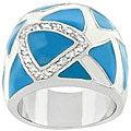 Kate Bissett Gold Bonded Metal Blue Enamel and CZ Ring