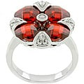 Kate Bissett Silvertone 'Garnet Artisan' Red CZ Flower Ring
