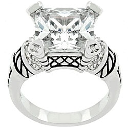 Kate Bissett White Goldplated Metal CZ Ring