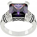 Kate Bissett White Goldplated Metal Purple CZ Ring