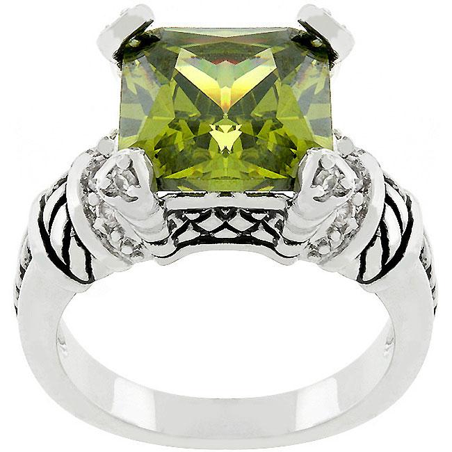Kate Bissett Silvertone 'Olive Eyes' Green Cubic Zirconia Ring