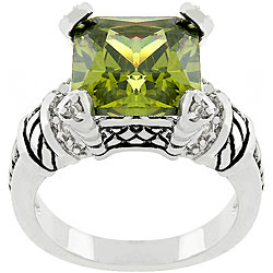 Kate Bissett Silvertone 'Olive Eyes' Green Cubic Zirconia Ring
