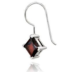 Glitzy Rocks Sterling Silver Garnet Diamond-shaped Drop Earrings