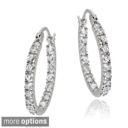 Icz Stonez Sterling Silver Small CZ Inside-out Hoop Earrings
