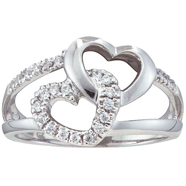 Unending Love Sterling Silver 1/5ct TDW Diamond Double Heart Ring (H-I, I2-I3)
