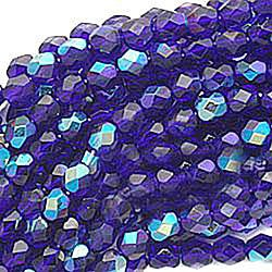 Beadaholique Czech Fire Polished 6 mm Round Cobalt Blue Beads