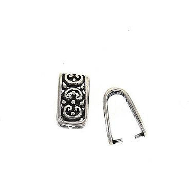 Beadaholique Large Sterling Silver Ornate-design Pinch Bail Jewelry Accessory
