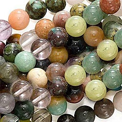 Beadaholique Multi-mix Eight-millimeter Round Semiprecious Gemstone Jewelry Beads