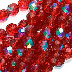 Beadaholique Round Red Ruby AB 8 mm Czech Fire Polish Beads (Case of 25)