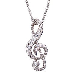 Sterling Silver 1/5ct TDW Diamond Music Note Necklace