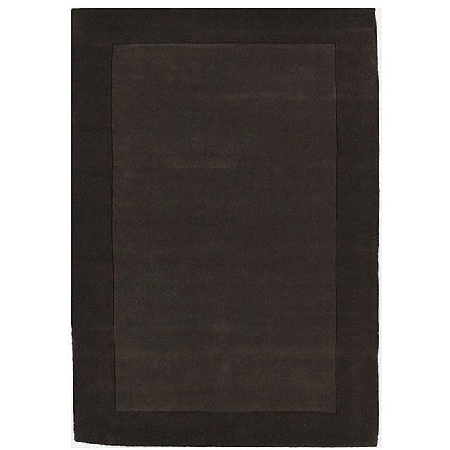Hand-tufted Coffee Border Wool Rug (5' x 8')