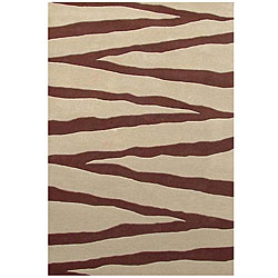 Hand-tufted Zebra Beige Line Wool Rug (5' x 8')