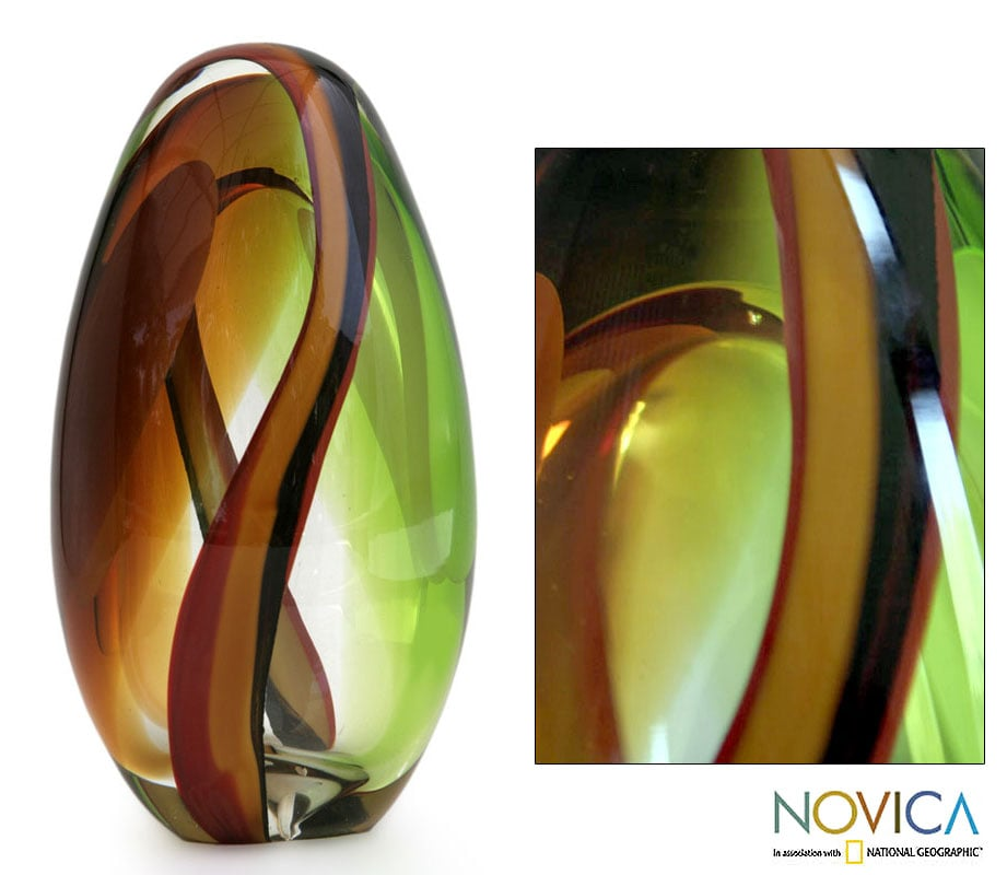 Murano 'Jade and Amber Power' Hand-blown Sculpture (Brazil)