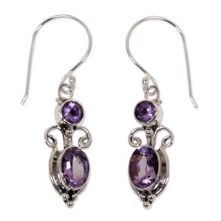 Crown Princess Handmade Artisan Designer Women's Clothing Accessory Sterling Silver Purple Amethyst Jewelry Earrings (Indonesia)