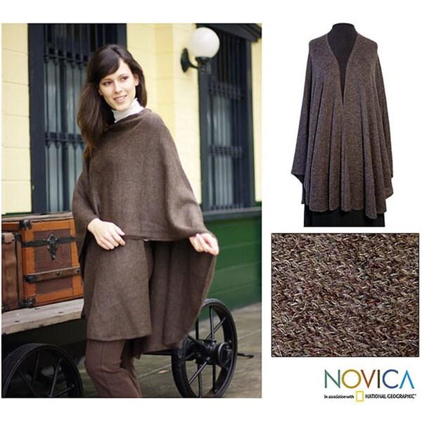 Alpaca Wool 'Brown Tweed' Wrap (Peru)