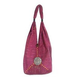 Cotton 'Hot Pink Thai' Shoulder Bag (Thailand)