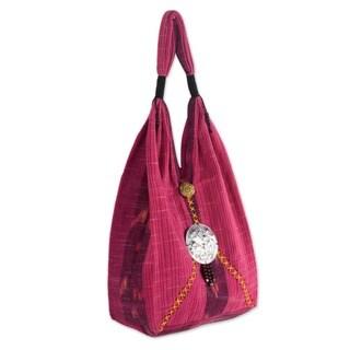 Cotton 'Hot Pink Thai' Shoulder Bag (Thailand)