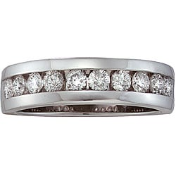 14k White Gold Men's 1ct TDW Diamond Band (H-I, I1)
