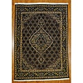 Persian Tabriz Black Wool Rug (5' x 7')
