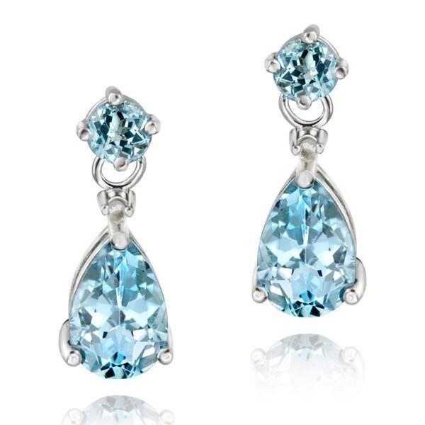 Glitzy Rocks Sterling Silver Blue Topaz Tear-shaped Earrings