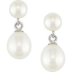 Miadora Sterling Silver FW Pearl Drop Earrings (8-8.5 mm)