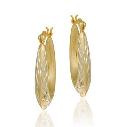 Mondevio 18k Gold/ Sterling Silver Graduated Hoop Earrings
