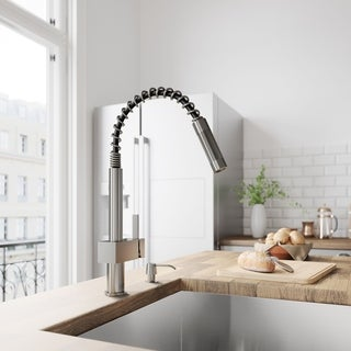 VIGO Stainless Steel Pull-Out Lever-Style Kitchen Faucet