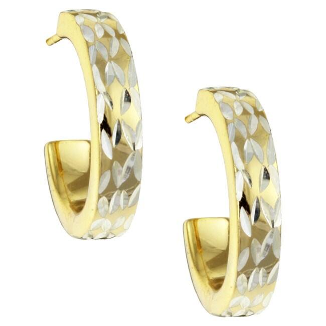 Mondevio 22k Gold/ Sterling Silver Diamond-cut Half Hoop Earrings
