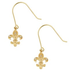 Icz Stonez 18k Gold/ Sterling Silver CZ Fleur De Lis Earrings