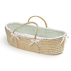 Natural Baby Moses Basket with Sage Waffle Bedding