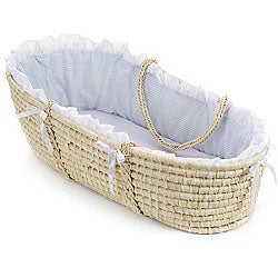 Natural Moses Basket with Blue Gingham Bedding