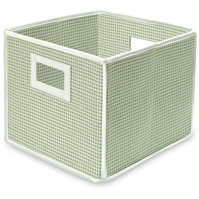 Folding Sage Gingham Storage Cubes (Pack of 3)