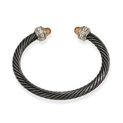 ICZ Stonez Two-tone Icz Stonez Silver Champagne CZ Cable Cuff Bangle