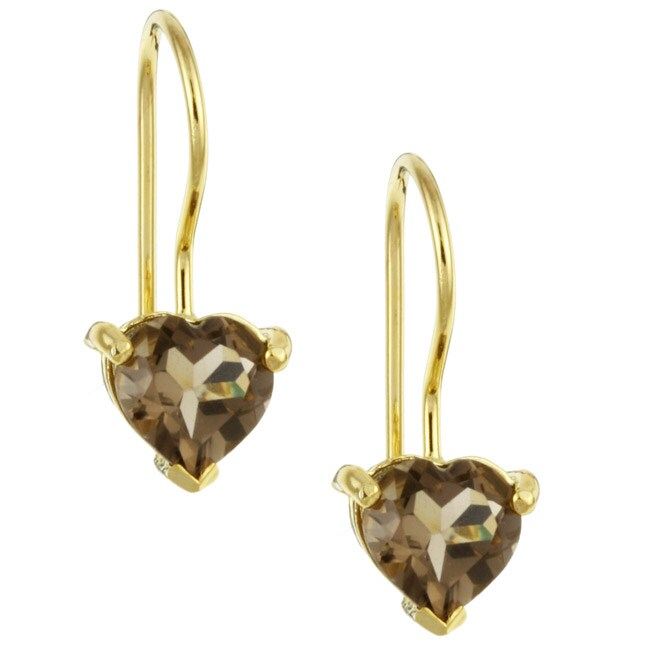 Glitzy Rocks 18k Gold/ Silver Smokey Quartz Heart-shape Earrings