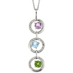 Glitzy Rocks Sterling Silver Gemstone Diamond Accent Necklace