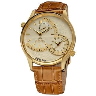 August Steiner Dual Time Men's Quartz Gold-Tone Watch