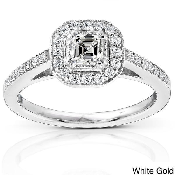 Annello 14k Gold 1/2ct TDW Asscher Diamond Halo Ring (H-I, SI1)