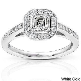 Annello 14k Gold 1/2ct TDW Asscher Diamond Halo Ring (H-I, SI1) with Bonus Item