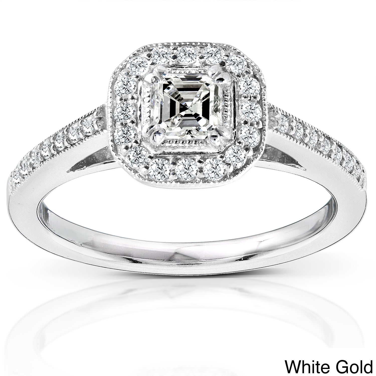Eziba Collection 14k Gold 1/2ct TDW Asscher Halo Diamond Ring at Sears.com